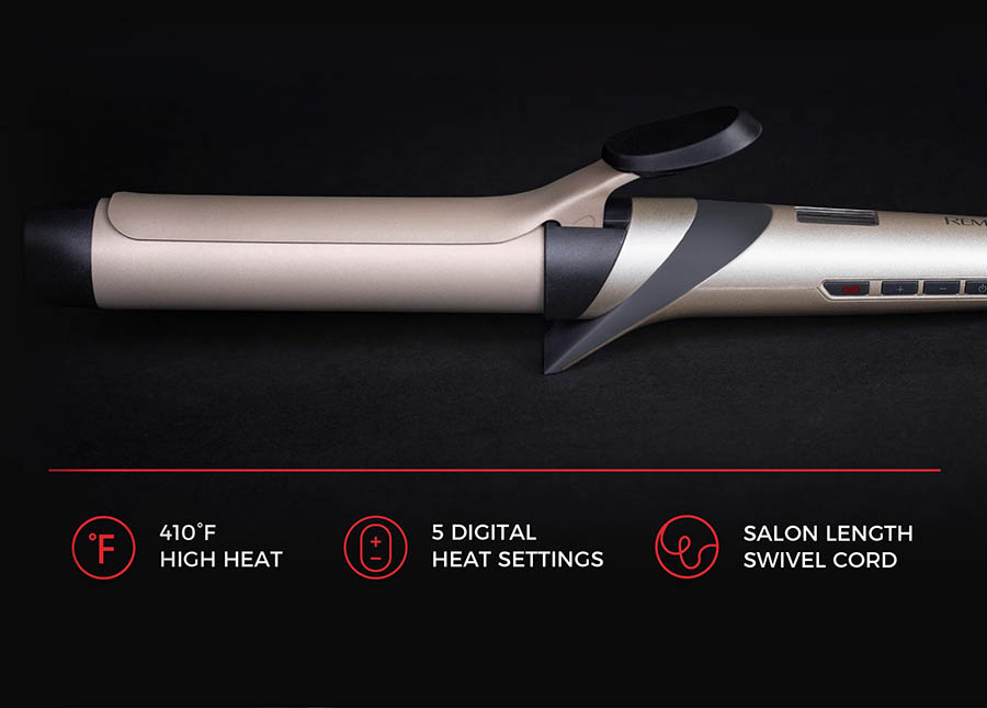 1 1/4 Inch Clipped Curling Iron. 410 High Heat, 5 Digital Heat Settings, Salon Length Swivel Cord.