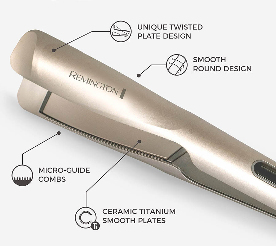 1 Inch Multi-Styler with Twist & Curl Technology. Unique Twisted Plates. Ceramic Titanium Smooth Plates. Micro-Guide Combs. Smooth Round Design.