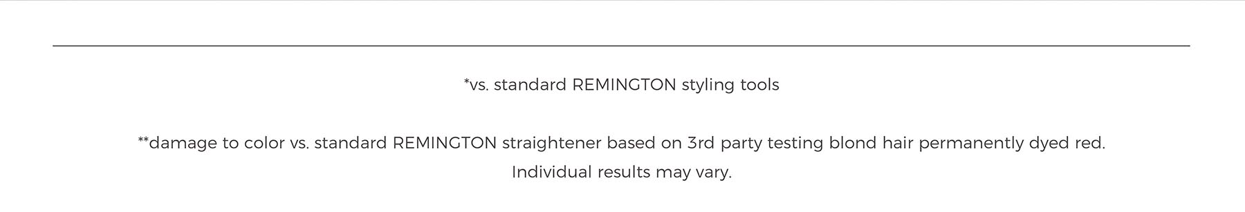 *vs. standard REMINGTON styling tools **damage to color vs. standard REMINGTON straightener based on 3rd party testing blond hair permanently dyed red. Individual results may vary.