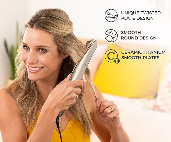 Ceramic titanium smooth plates. Smooth round design. Unique twisted plate design. 1 inch twist and curl technology. The unique twisted plates allow you to straighten and curl with just one tool!